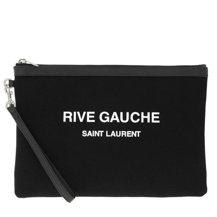 Handtasche, Saint Laurent, Rive Gauche Zippered Pouch Canvas Black