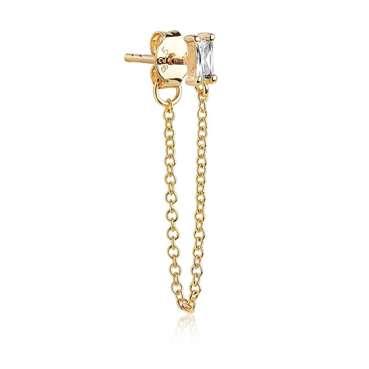 Ohrring, Sif Jakobs Jewellery, Single Princess Baguette Piccolo Lungo Earring Gold
