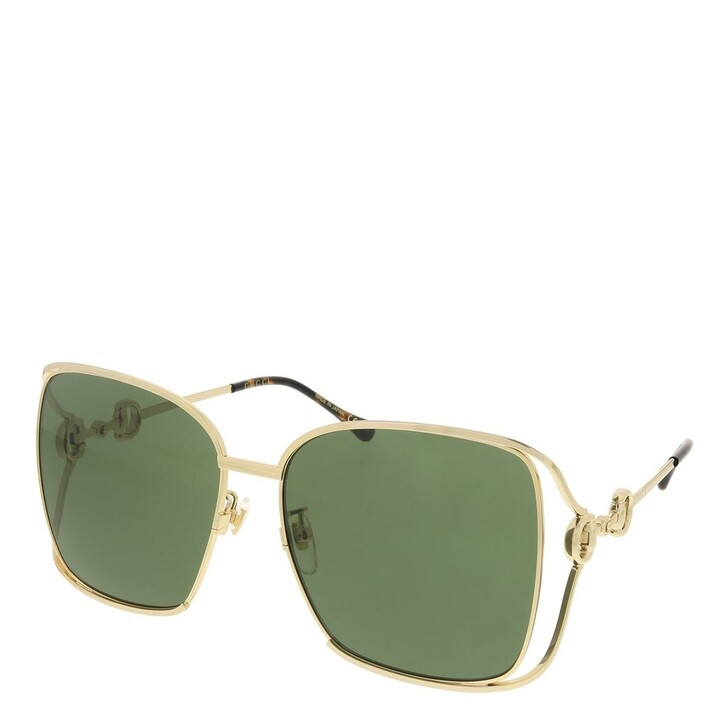 sunglasses, Gucci, GG1020S-003 61 Sunglass Woman Metal Gold-Gold-Green