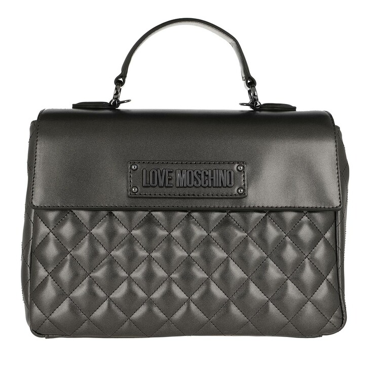 bags, Love Moschino, Shoulder Bag Quilted Faux Leather Silver