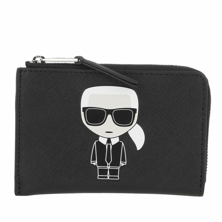 wallets, Karl Lagerfeld, Ikonik Zip Card Holder Black