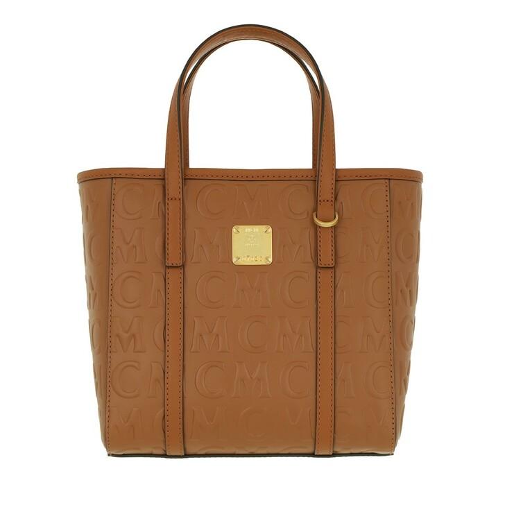 Handtasche, MCM, Toni Mini Leather Shopper Mini   Cognac