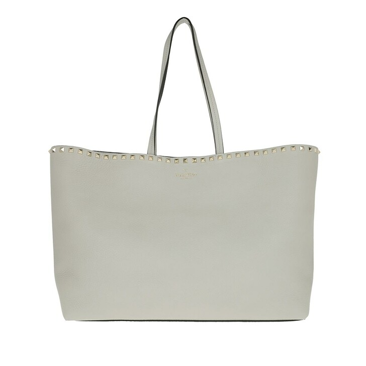 Handtasche, Valentino, Rockstud Studded Shopping Bag Leather Opal Grey