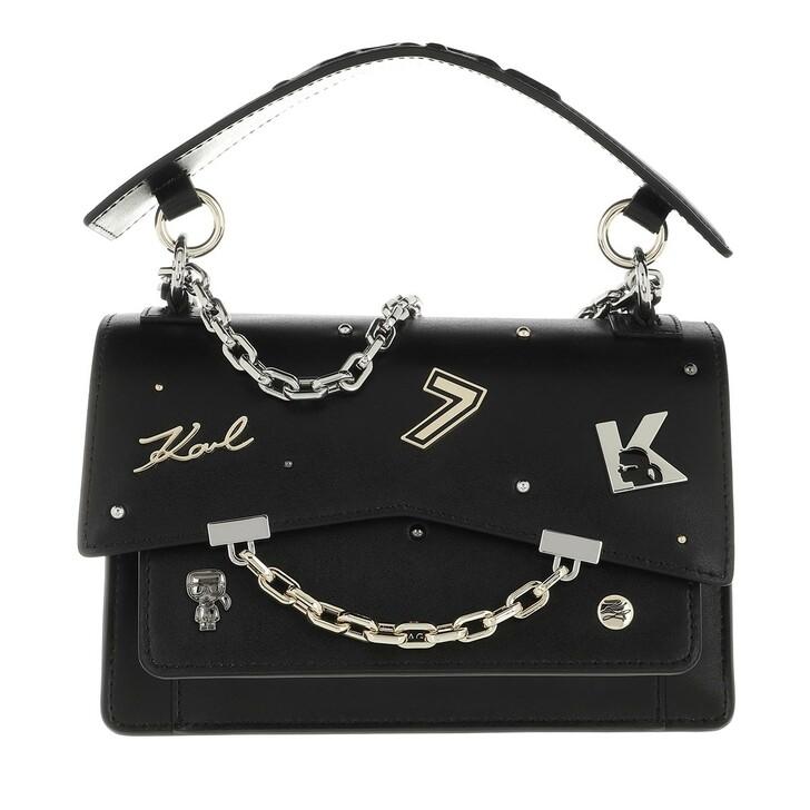 Handtasche, Karl Lagerfeld, Karl Seven Pins Shoulderbag Black