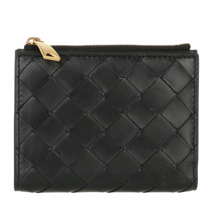 wallets, Bottega Veneta, Bi-Fold Zip Wallet Black Gold