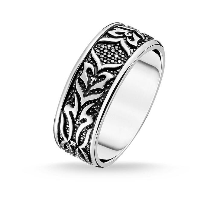Ring, Thomas Sabo, Ring Black Tiger Pattern Silver