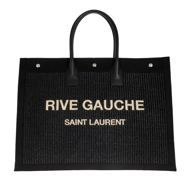 Handtasche, Saint Laurent, Rive Gauche Tote Bag Black/Natural Beige