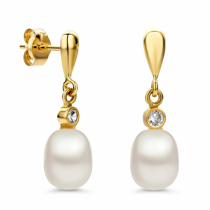 earrings, BELORO, (14K) Pearl Earring Cubic Zirconia Yellow Gold