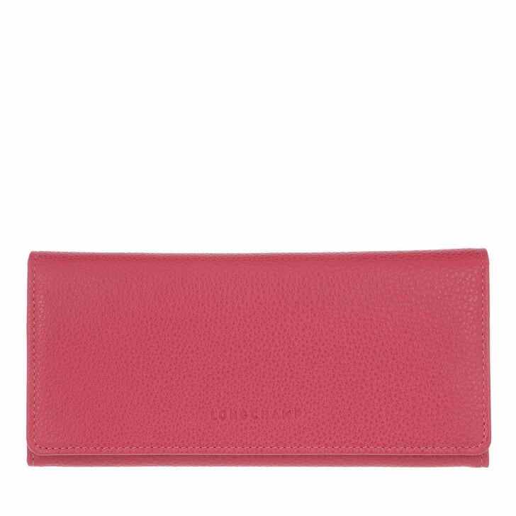 wallets, Longchamp, Le Foulonné Wallet with Flap Pink
