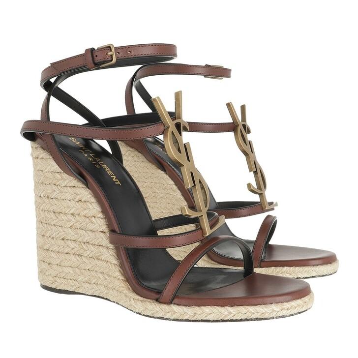 Schuh, Saint Laurent, Cassandra Sandal Wedges Leather Natural/Dark Brown