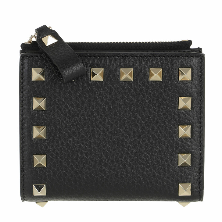 Geldbörse, Valentino Garavani, Rockstud Flap French Compact Wallet Leather Black