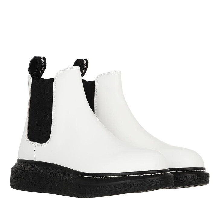 shoes, Alexander McQueen, Chelsea Boots Leather White/Black