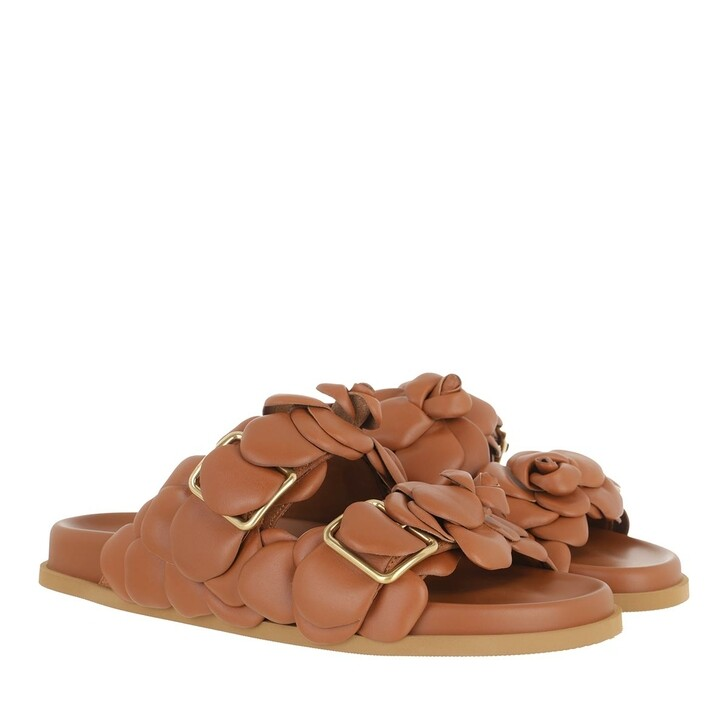 Schuh, Valentino Garavani, Rose Edition Flat Slipper Leather Brown
