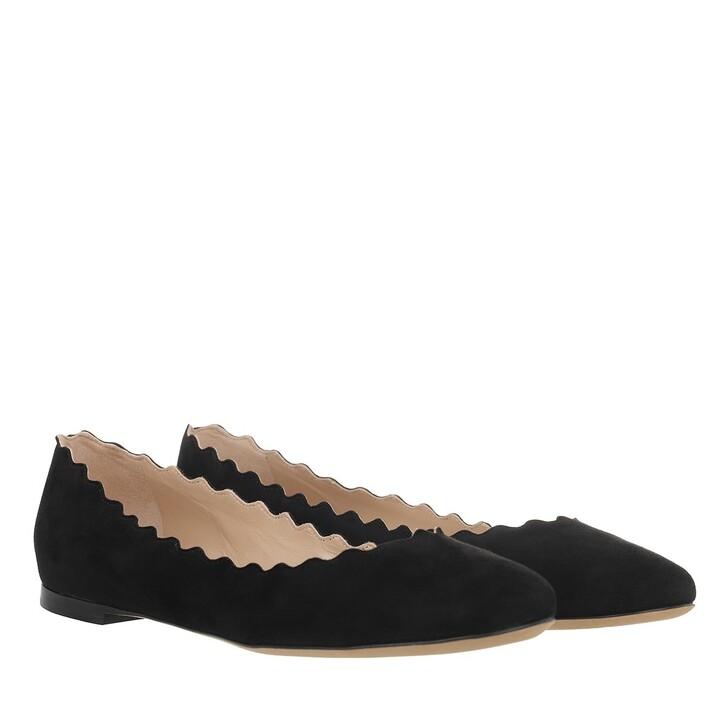 shoes, Chloé, Lauren Scalloped Ballerina Suede Black