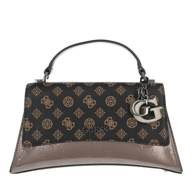 bags, Guess, Dalma Top Handle Flap Brown Logo