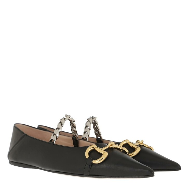 Schuh, Gucci, Deva Horsebit Ballerinas Leather Black