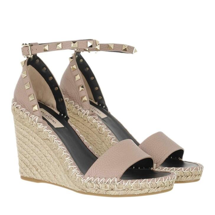 shoes, Valentino Garavani, Rockstud Wedge Sandals Poudre