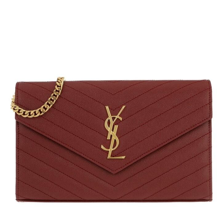 Geldbörse, Saint Laurent, Monogramme Chain Wallet Black Opyum Red