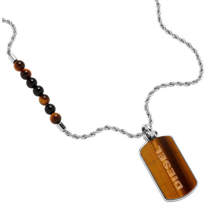 necklaces, Diesel, Men's Tiger's Eye and Stainless Steel Dog Tag Neck Silver