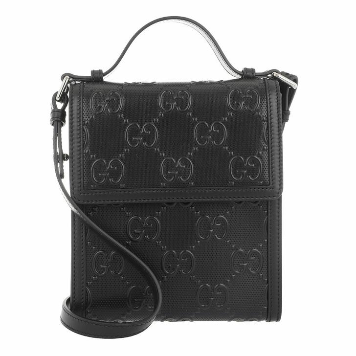 Handtasche, Gucci, Men GG Embossed Messenger Bag Leather Black
