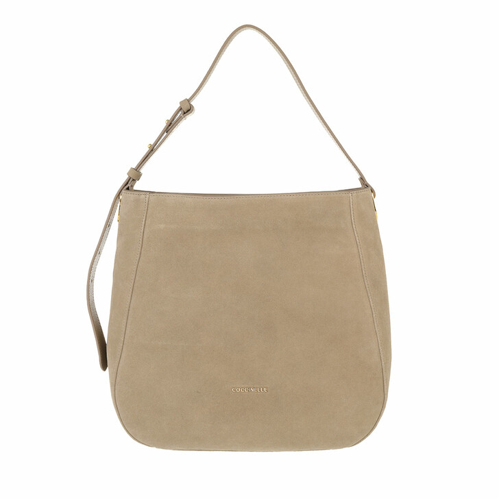 bags, Coccinelle, Handbag Suede Leather New Taupe