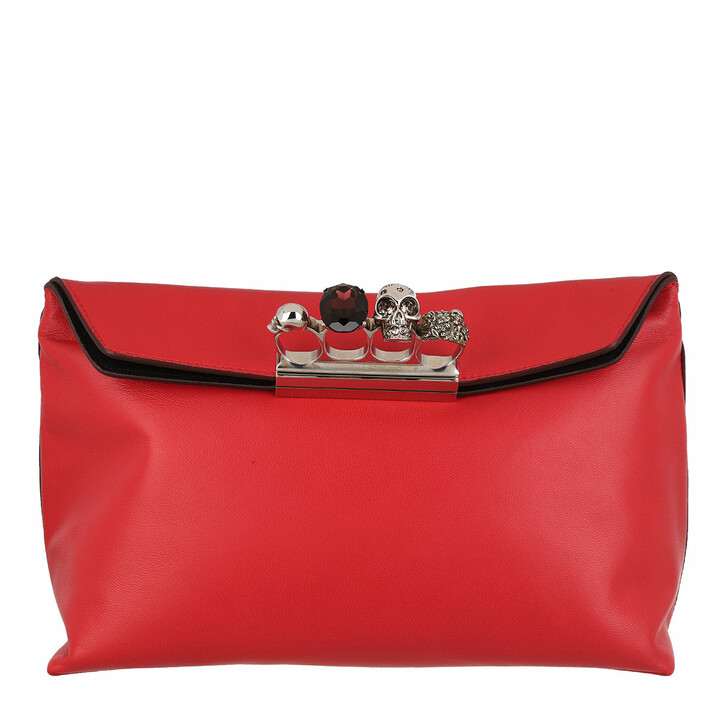 Handtasche, Alexander McQueen, Skull Pouch Leather Deep Red