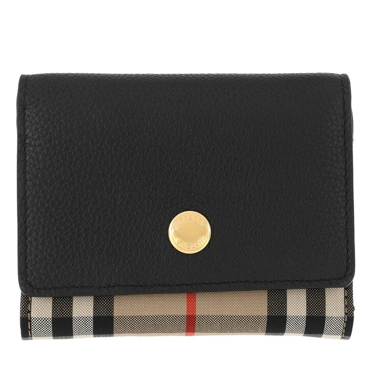 wallets, Burberry, Small Folding Wallet Leather Black