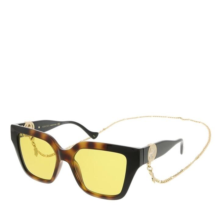 sunglasses, Gucci, GG1023S-004 54 Sunglass Woman Injection Havana-Black-Yellow