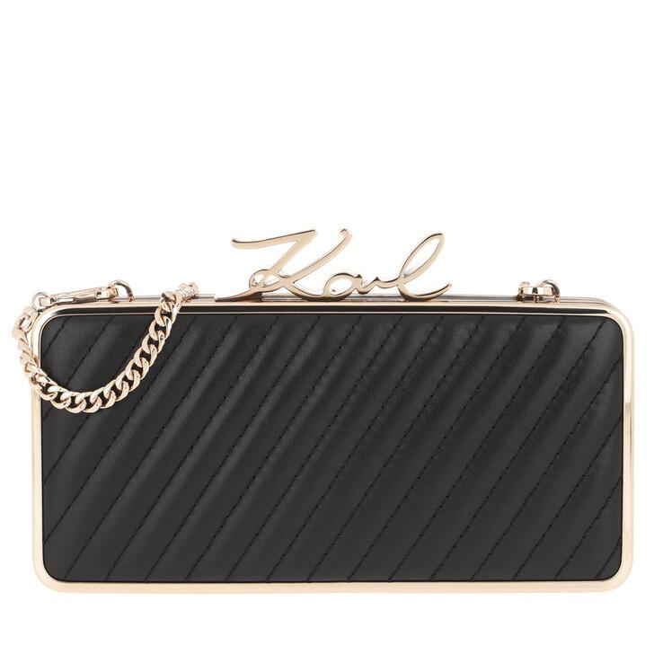 Handtasche, Karl Lagerfeld, Signature Lock Minaudiere Black