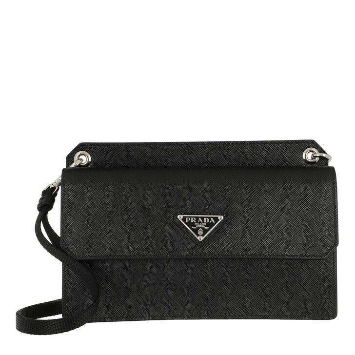 Geldbörse, Prada, Compact Wallet Strap Leather Black