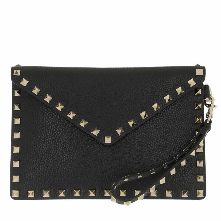 bags, Valentino Garavani, Rockstud Clutch Medium Leather Black