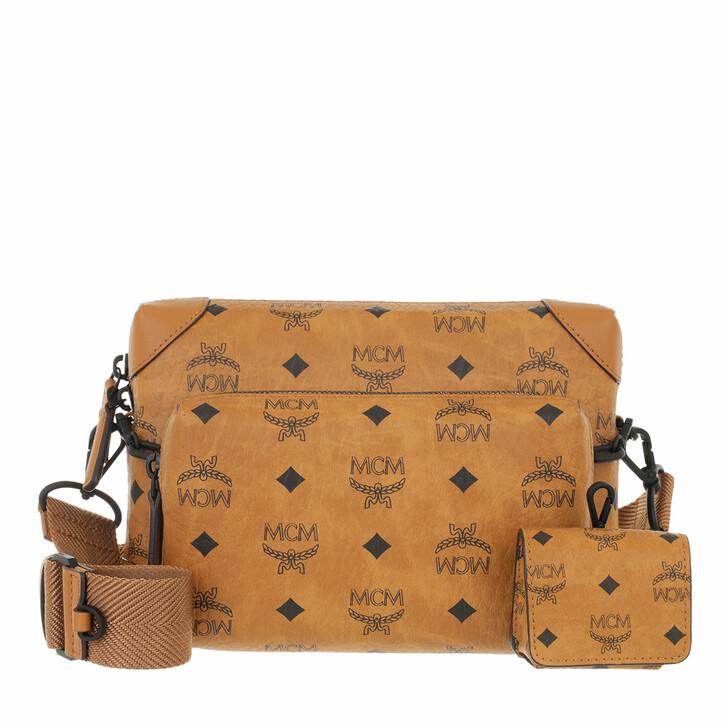 bags, MCM, Soft Berlin Visetos Crossbody Small  Cognac