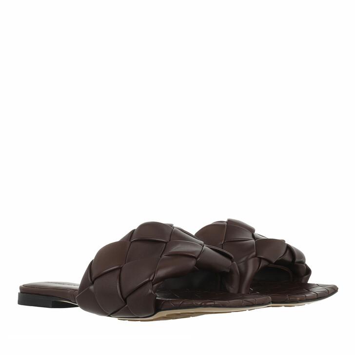 shoes, Bottega Veneta, Lido Intrecciato Flat Sandals Bitter Chocolate