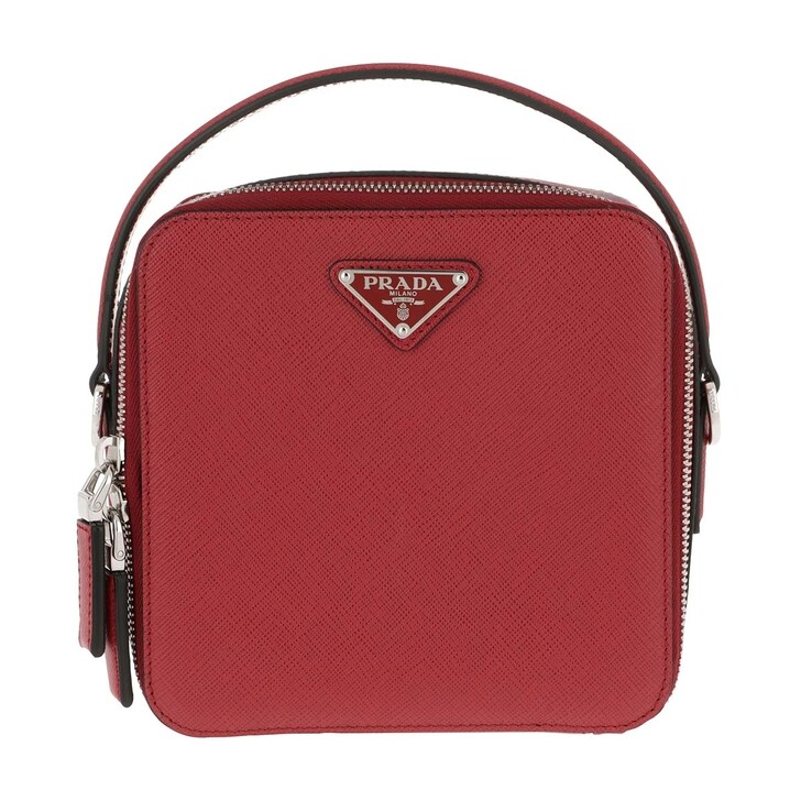 Handtasche, Prada, Brique Men Bag Leather Red
