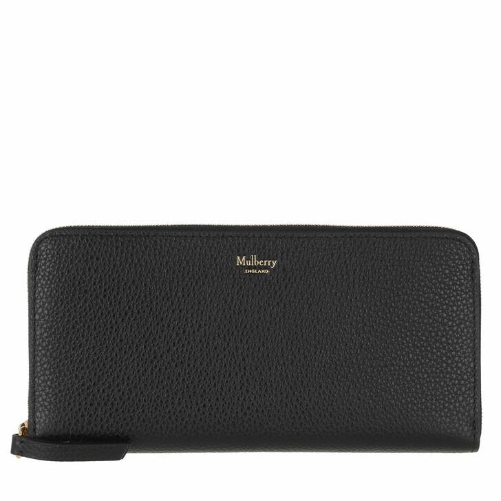 Geldbörse, Mulberry, 8 Card Zip Around Wallet Classic Grain Black