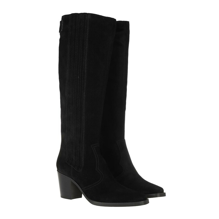 Schuh, GANNI, Western Knee High Boot Suede Black