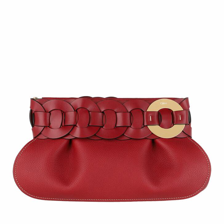 Handtasche, Chloé, Darryl Clutch Calfskin Smoked Red