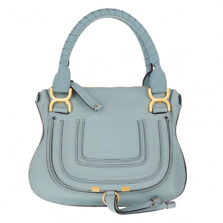 Handtasche, Chloé, Marcie Crossbody Bag Grained Calfskin Faded Blue