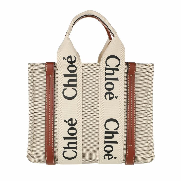 bags, Chloé, Small Woody Shopper Canvas White Brown