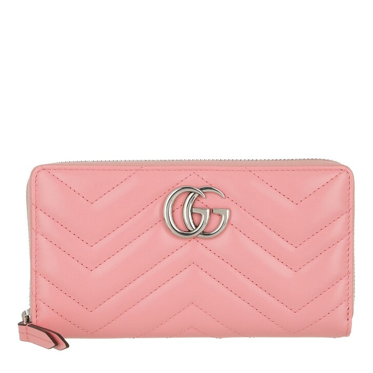 Geldbörse, Gucci, GG Marmont Zip Around Wallet Leather Wild Rose