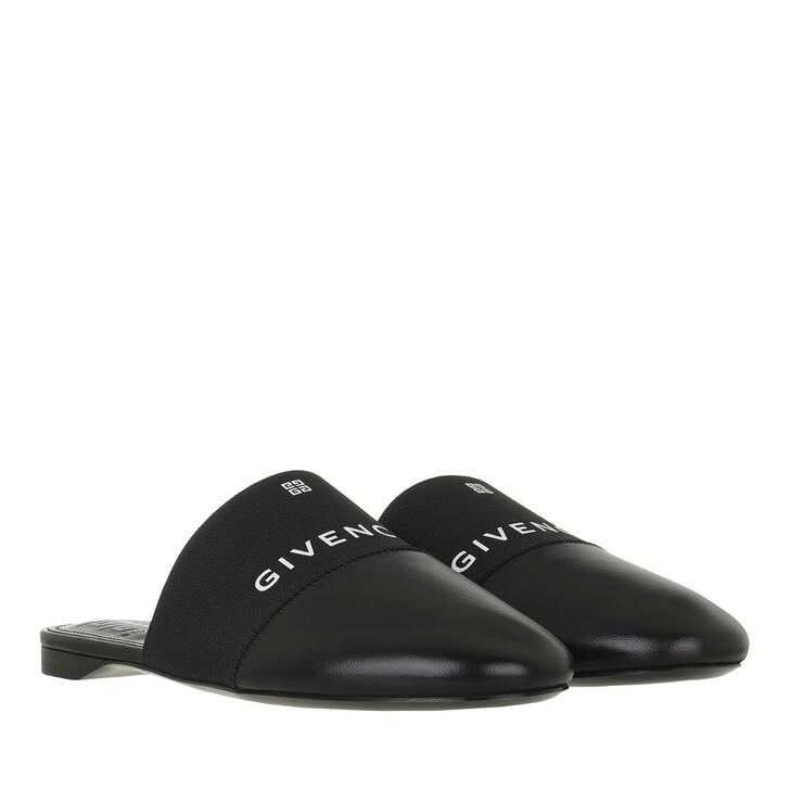 shoes, Givenchy, Signature Logo Flat Mules Leather Black