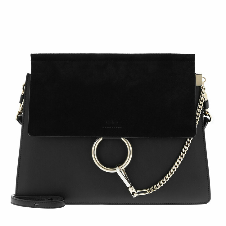 Handtasche, Chloé, Faye Tote Bag Suede Flap Black
