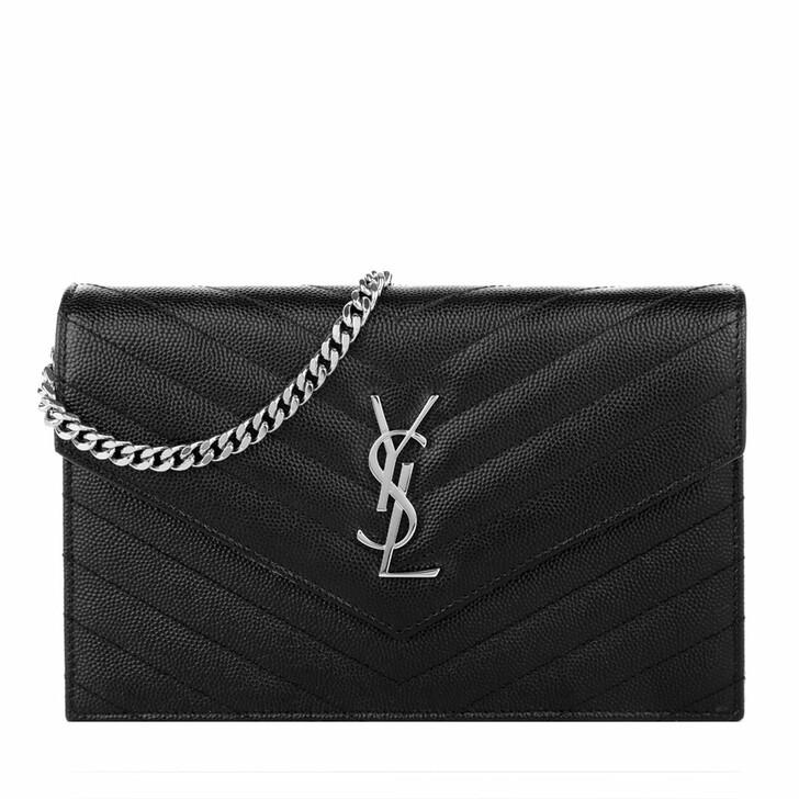 bags, Saint Laurent, Monogramme Envelope Chain Wallet Black