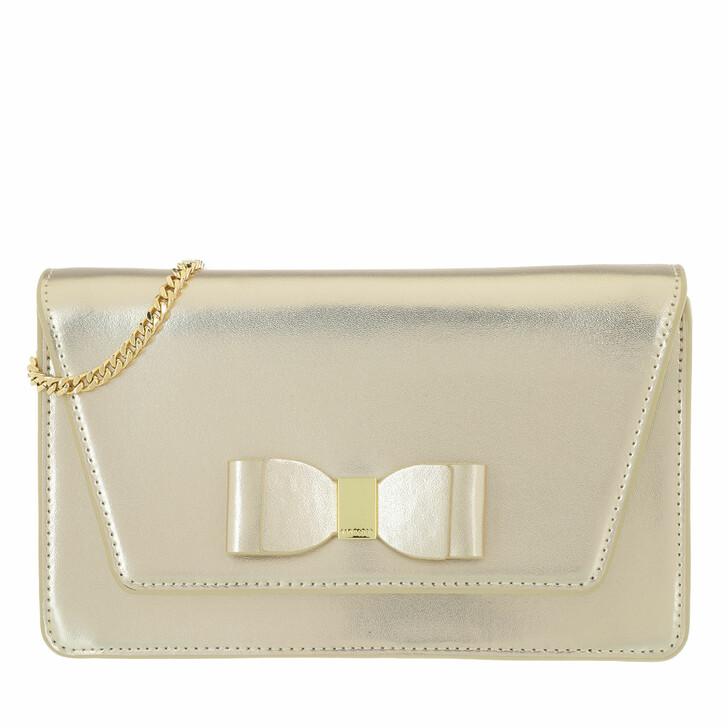 Handtasche, Ted Baker, Keeiira Leather Bow Evening Bag Gold