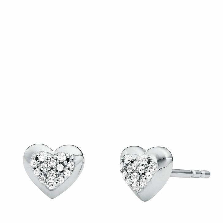 Ohrring, Michael Kors, Sterling Silver Pavé Heart Stud Earrings Silver