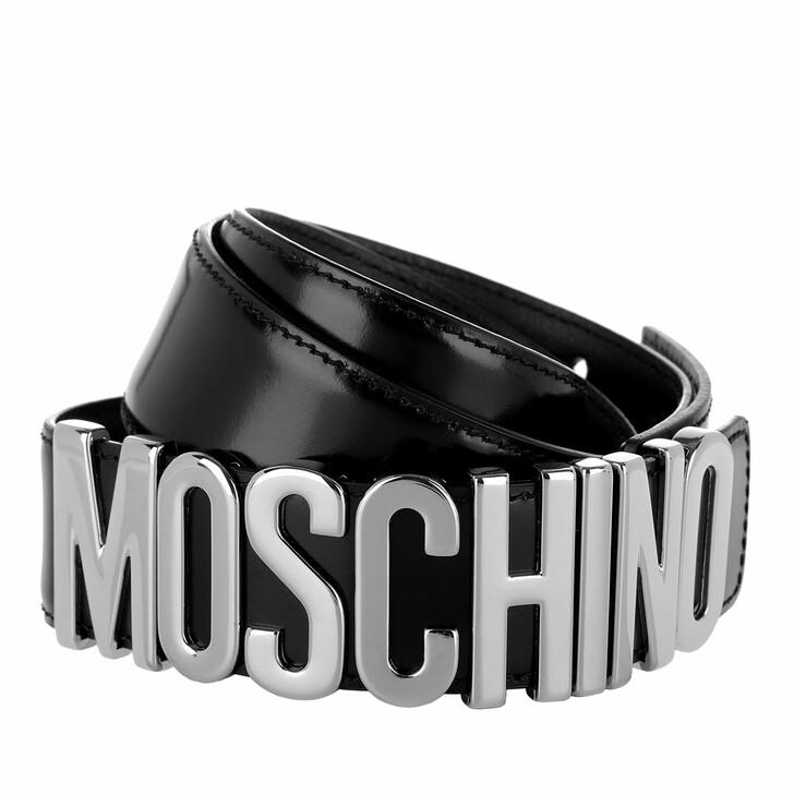 Gürtel, Moschino, Calf Leather Logo Belt Black/Silver