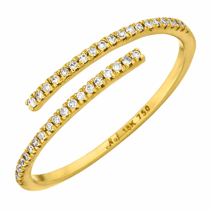 Ring, Leaf, Ring Open with Diamonds 18K Yellow Gold