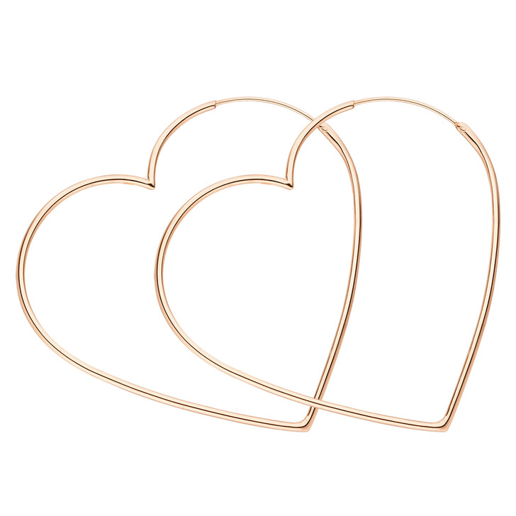 earrings, Leaf, Creole Heart Silver Rose Gold-Plated