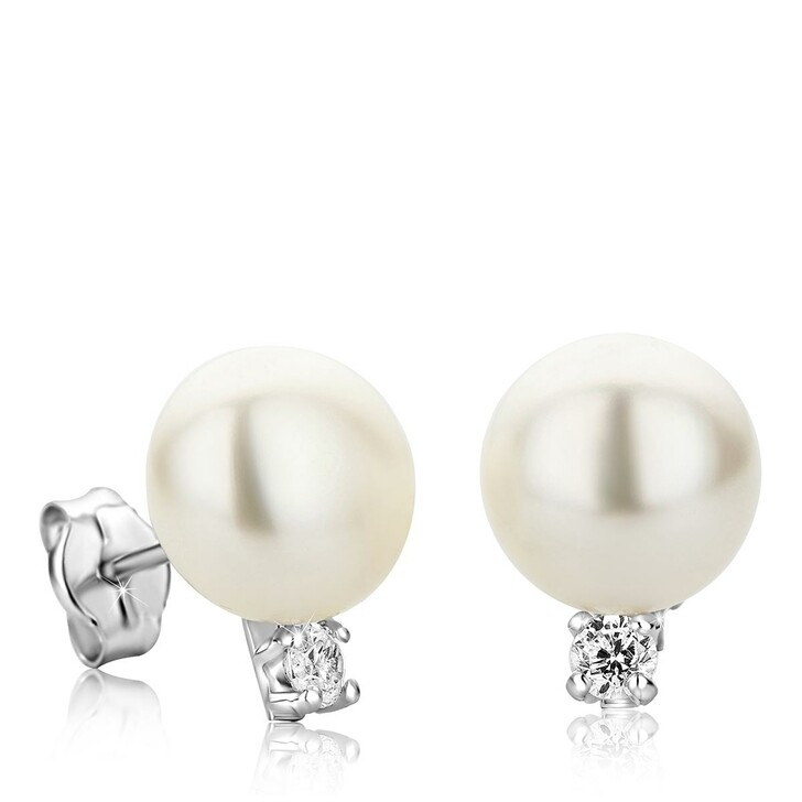 Ohrring, BELORO, 9KT Freshwater Pearl and Cubic Zirconia Earrings White Gold