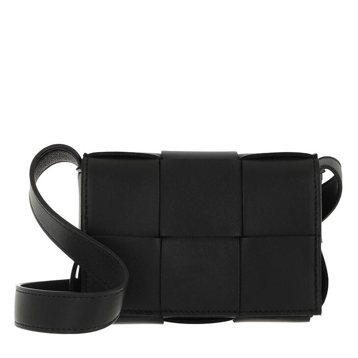 bags, Bottega Veneta, Small Cassette Black Gold